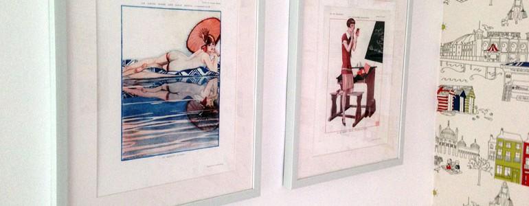 Framed French vintage prints