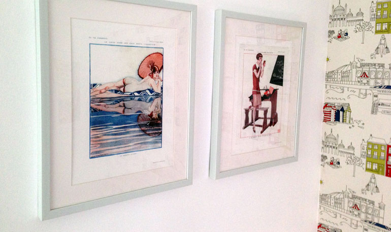 Framed French vintage prints