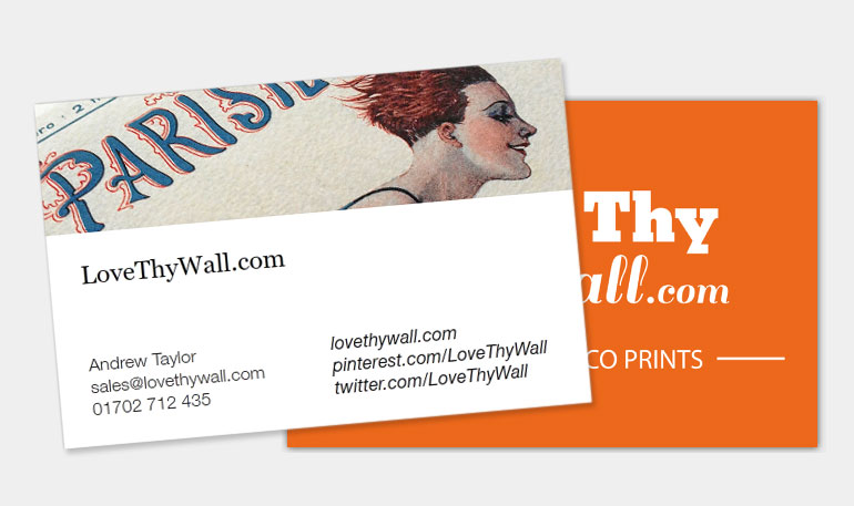LoveThyWall business cards - Art Deco design