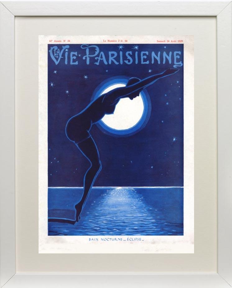 Framed example - Bain nocturne Eclipse 1929 - La Vie Parisienne Print