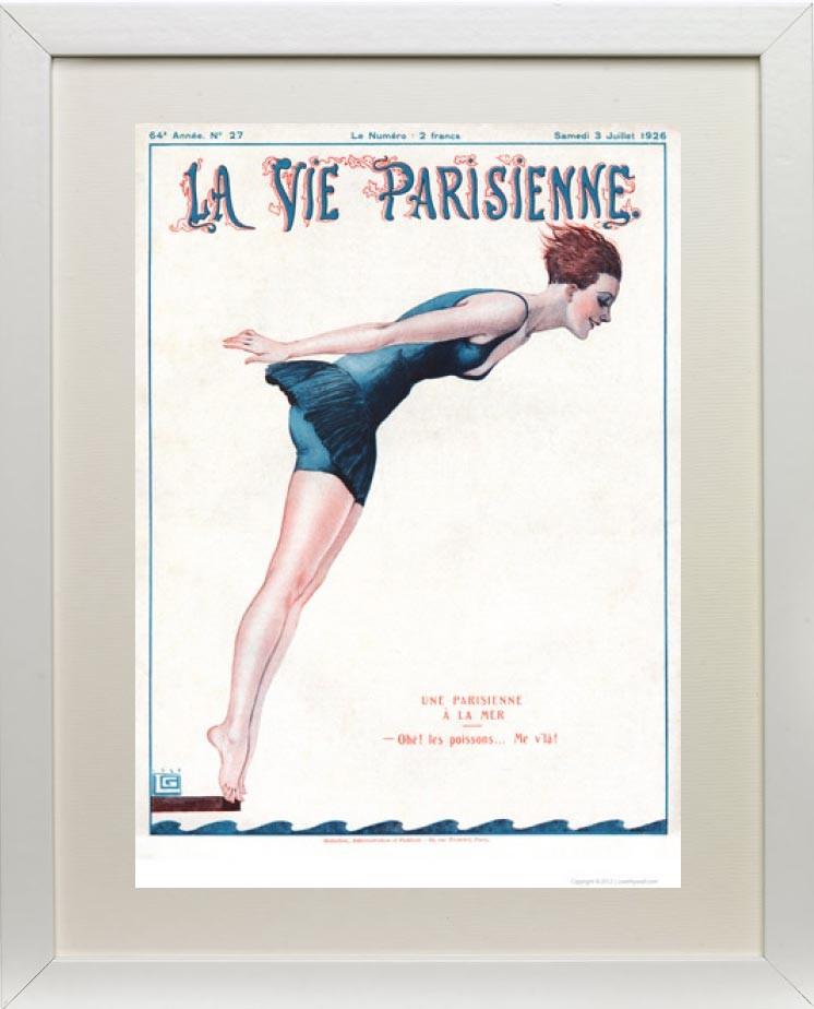 Framed example - Une Parisienne a la mer 1926 - La Vie Parisienne Print