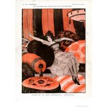 Full design - Nenette et ses coussins 1920 - La Vie Parisienne Print