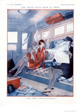 Full design - Une jeune fille dans le train 1926 - La Vie Parisienne Print